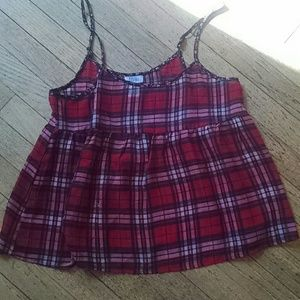 Red plaid babydoll sheer tank small